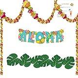 Hawaiian Luau Party Decorations --- Flower Lei Garland (100 ft), Aloha Banner, 8 inch Tropical Leaves (12), and Hawaiian Luau Drink Recipes