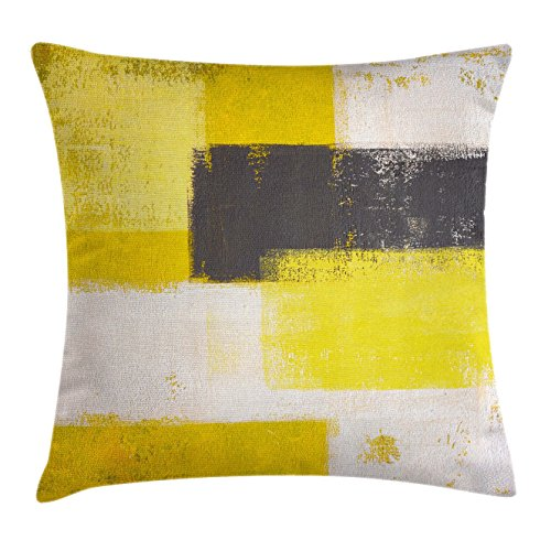 Grey and Yellow Throw Pillow Cushion Cover by Ambesonne, Abstract Grunge Style Brushstrokes Painting Style, Decorative Square Accent Pillow Case, 16 X 16 Inches, White Charcoal Grey and Light Yellow