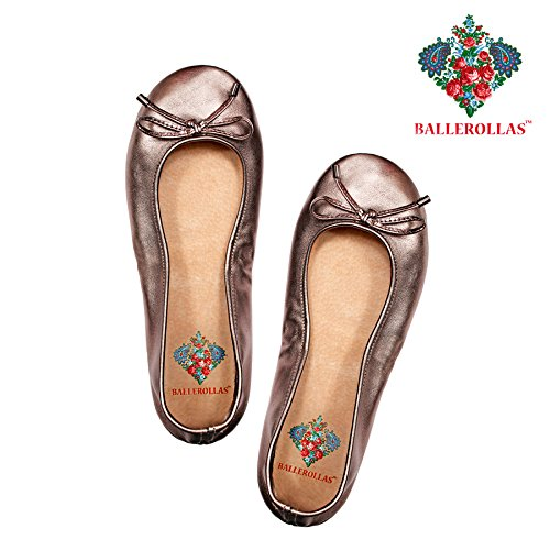 BALLEROLLAS Ballerines pliable – Chaussures de Football rollas alternatif 100% cuir Bronze Taille 36 6XnmE4DJ
