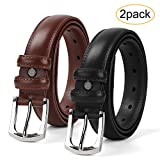 Men's Dress Belt Genuine Leather Black Design Belt with Prong Buckle Elegant Gift Box (Suit for Pant Size 35-38inch, 04-Black+Brown)
