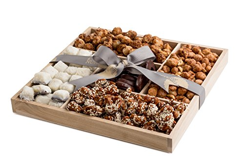 The Nuttery Holiday Wooden 5 Section Nuts and Chocolate Gift Tray