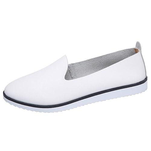Las Mujeres Oxford Pisos Cuero Zapatos resbalón en el Colegio de Ronda del Dedo del pie Moda Casual señoras Perezoso Mocasines: Amazon.es: Zapatos y ...