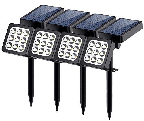 Solar Lights 2-in-1 Waterproof 9 LEDs Solar Spotlight Outdoor Adjustable Wall Light Landscape Light Security Lighting Dark Sensing Auto On/Off for Patio Deck Yard Garden Driveway Pool, 4 Pack [並行輸入品] B07RBKL16W