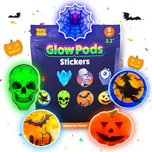 Vintage Halloween Trick Or Treaters (PartySticks Glow Pods Halloween Stickers - Glow in The Dark Puffy Stickers w/ 8 Monster Stickers and Adhesive)