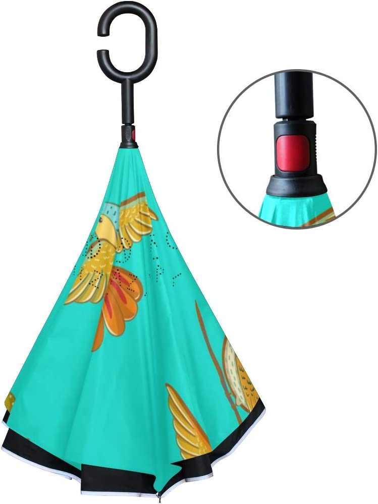 Double Layer Inverted Umbrellas with Hummingbird Lover Green Print Windproof Reverse Folding Umbrella for Car C-Shaped Handle Umbrella