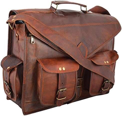 Handmadecraft ABB 18 Inch Vintage Handmade Leather Messenger Bag for Laptop Briefcase Satchel Bag