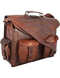 ABB 18 Inch Vintage Handmade Leather Messenger Bag for Laptop Briefcase Satchel Bag