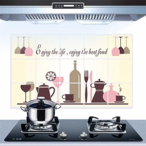 Bomeautify Oilproof Sticker cooktop Hood Aluminum foil Oil-Repellent Waterproof Wall Sticker Tile Sticker Paper Kitchen Wall Sticker Paper Wine Tableware 4575CM