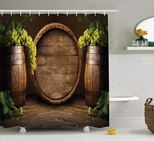(Ambesonne Winery Decor Collection, Still Life of Wine with Wooden Keg Ancient Old Fashioned Wine Keeper Tasting Scene, Polyester Fabric Bathroom Shower Curtain, 84 Inches Extra Long, Green Sienna)