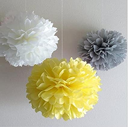Since 12 mixed white gray yellow party tissue pompoms paper flower pom poms wedding birthday party christmas girls room decoration sic 01702 since 12 mixed white gray yellow party tissue pompoms paper flower pom poms wedding birthday mightylinksfo