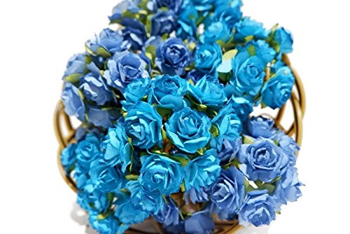 (N.10) 50 pcs Mini Rose Mixed Blue Tone Colors Mulberry Paper Flower 25mm Scrapbooking Wedding Doll House Supplies Card by' Thai Decorated