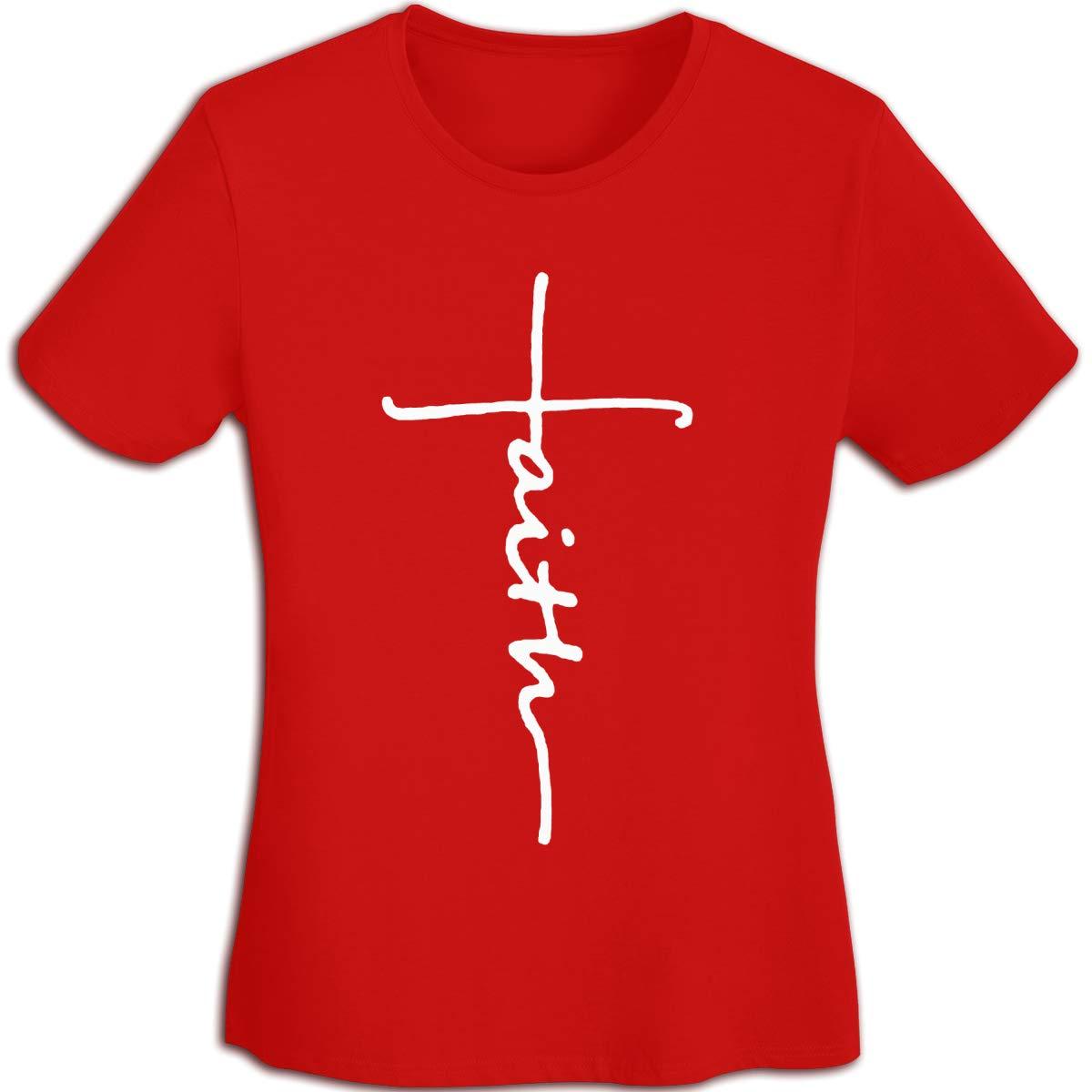 Women's T Shirt Cross Faith Shirts Jesus Tshirts Cotton Christian T-Shirt Short-Sleeve Tshirt for Women Youth Girls Red S by BKashy