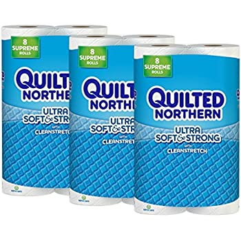 Quilted Northern Ultra Soft Strong Toilet Paper 24 Supreme Rolls 92 Regular Bath Tissue 3 Packs Of 8