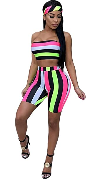 613affb217d Amazon.com  VLUNT Women Colorful Stripe 2 Piece Outfits Set Tube Crop Top  and Short Pants Jumpsuit with Headband  Clothing