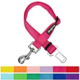 Blueberry Pet New Classic Solid Color Adjustable Dog Seat Belt Tether for Dogs Cats, French Pink, Durable Safety Car Vehicle Seatbelts Leads Use with Harness