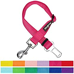 Blueberry Pet New 12 Colors Classic Dog Seat Belt Tether for Dogs Cats, French Pink, Durable Safety Car Vehicle Seatbelts Leads Use with Harness