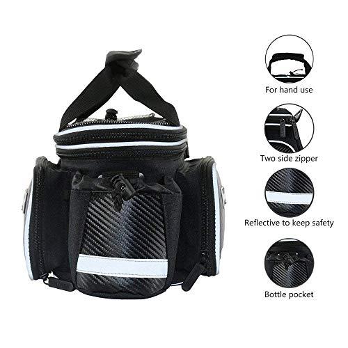 Bike Rear Bag Cycling Rack Rear Bag Zipper Pockets Bottle Case Bike Accessories for Road Mountain Bikes Black by Bicycleer (Image #2)