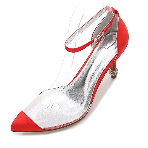 talons chaussures boucle bottines à cour femmes hauts rouge de Zxstz de mariage 8ZnY6Ex