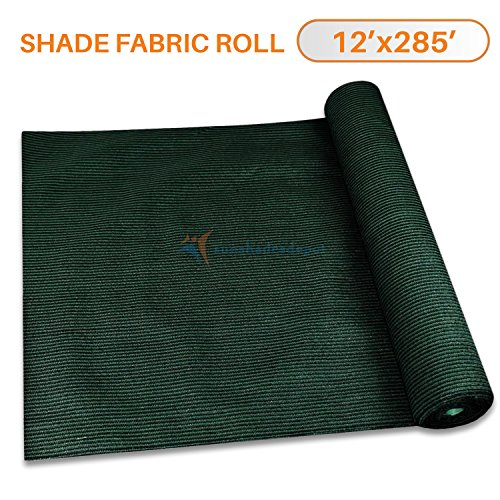 Cheap Sunshades Depot By Tang 12′ x 285′ Shade Cloth 180 GSM HDPE Dark Green Fabric Roll Up to 95% Blockage UV Resistant Mesh Net