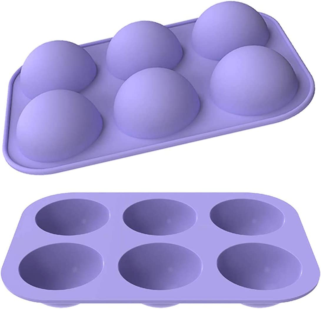 """SUNNYHILL Pack of 2 Purple Silicone Chocolate Mold Small 6 Half Circle Holes Dia.2.1"""" For DIY Baking, Cupcake,Chocolate, Jelly, Pudding, Handmade Soap,Fondant, Bakeware Kitchen Tools"""