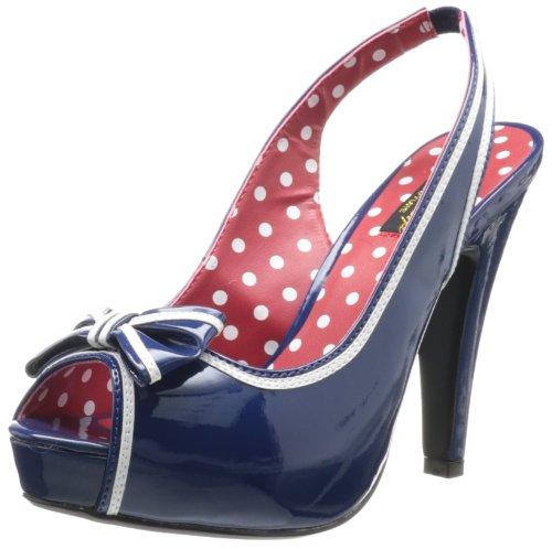Pleaser Women's Bettie-05 Sandal,Navy Blue Patent,9 M US Navy Blue Leather Pumps