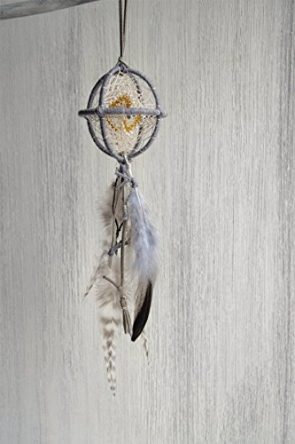 (Small Grey Feathers Bohemian 3D Dream Catcher Mobile Handmade)