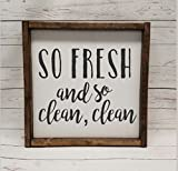 So fresh and so clean clean, Farmhouse sign, rustic decor, fixer upper style, bathroom decor art, kid or master bathroom, wash your hands
