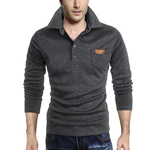 HEMOON Men's Long Sleeve Jersey Polo Shirts Dark Grey Small