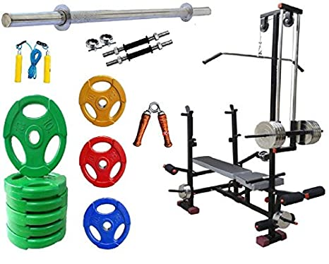 Hotdeal 15 Kg Imported Rubber Coated Plate Home Gym 20 IN 1 Multi Weight Bench 3 Iron Rods Fitness Kit Combo