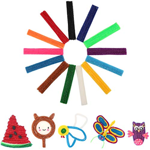 500 Piece Pack Wax Yarn Stix Made from Non-Toxic Materials - Bendable, Sticky Paint Sticks of 13 Kinds of Bright Colors in Bulk. Perfect Toys, Gifts for Children DIY Under 6