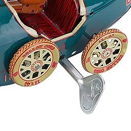 vintage car artwork Vintage Metal Tin Sports Car with Driver Clockwork Wind Up Toy Collectible vintage car decor