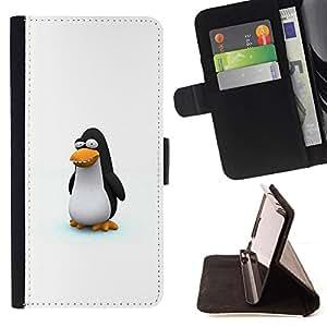 For Samsung Galaxy Note 3 III - Funny Cute Penguin /Funda de piel cubierta de la carpeta Foilo con cierre magn???¡¯????tico/ - Super Marley Shop -