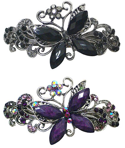 Price comparison product image Bella Set of 2 Butterfly Barrettes Hair Clips U0053jet/pur