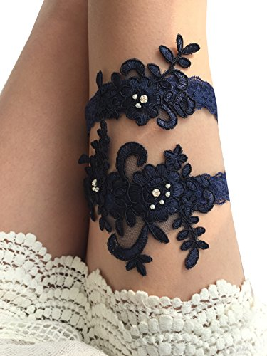 YuRong Wedding Garter Set Beaded Lace Garter Set Bridal Lace Garter Wedding Gift G01 (Navy)