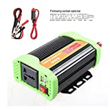 Teepao 300W Power Inverter DC 12V 24V to 110V 220V AC Converter with 2.1A USB Car Charger Adapter (Green)