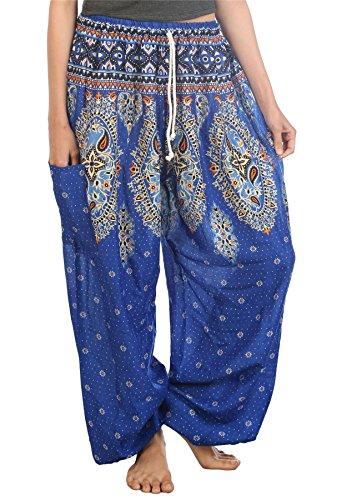 Bleu Lofbaz Avec Floral Pantalon Paon Sarouel Cordon 2 Femmes 8qpv8wxr