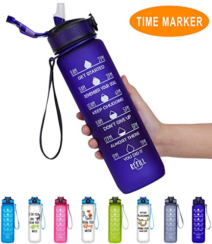 Giotto 22oz Portable Leakproof BPA Free Drinking Water Bottle with Time Marker & Straw to Ensure You Drink Enough Water Throughout The Day for Fitness and Outdoor Enthusiasts-Purple