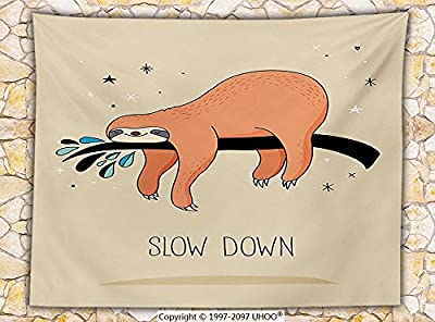 Animal Decor Fleece Throw Blanket Sleeping Big Bear Sloth Hanging on a Bench Cozy Lazy Wild Creature Image Throw Multicolor