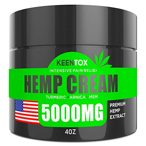 Hemp Pain Relief Cream - 5000 MG - Relieves Muscle, Joint Pain, Lower Back Pain, Knees, and Fingers - Inflammation - Hemp Extract Remedy - Hemp Oil with MSM - EMU Oil - Arnica - Turmeric Made in USA