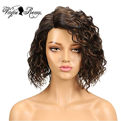 QVR Ombre 1b/30 Lace Front Wigs for Black Women 130% Density Short Curly Human Hair Wigs L Part Ombre Blonde Wigs for Women Bob Wigs