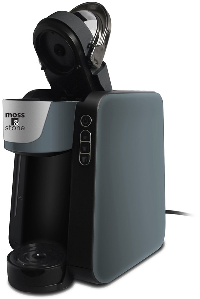Moss and Stone Single Serve Programmable Coffee Maker for 6, 8, 10 oz. Pods Quick Brew Technology 30 Second Ready Grey