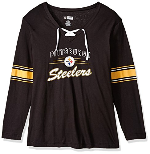 NFL Pittsburgh Steelers Women STEEELERS L/S JERSEY  V NECK TEE, BLACK/WHITE, 1X