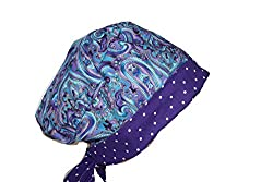 Surgical Scrub Hat Cap Blue Teal Purple Paisley Pixie Dots