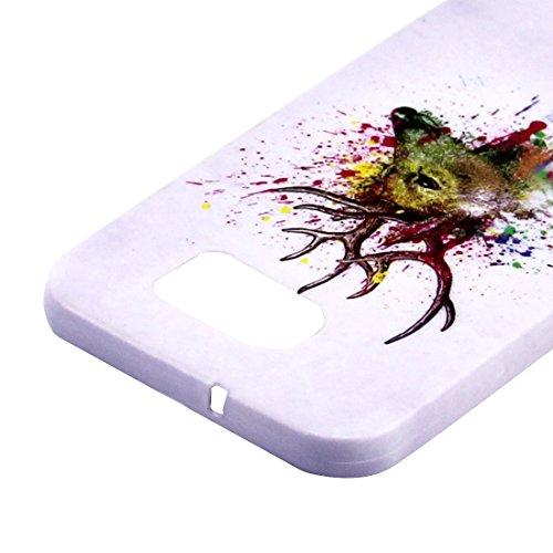 Samsung Galaxy S7 Silikon Hülle Case mit einem Hirschkopf und kunstvollen Malereien aus howertigem TPU - Schutzhülle GalaxyS7 - THESMARTGUARD