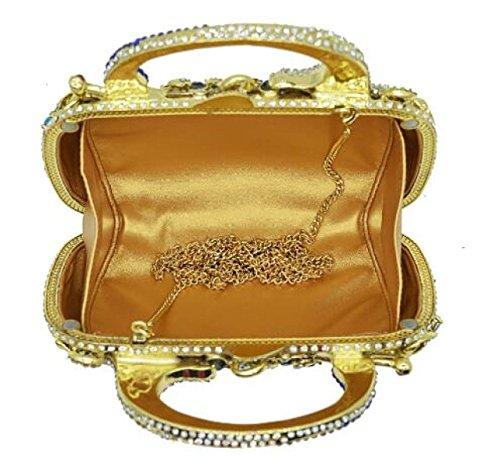 Clutch Bag Rhinestone GoldColor Bag Bag Dinner Crystal Bag Ladies Fashion Chain Handbag Diamond Evening Luxury Full Banquet qxYXwnpIg