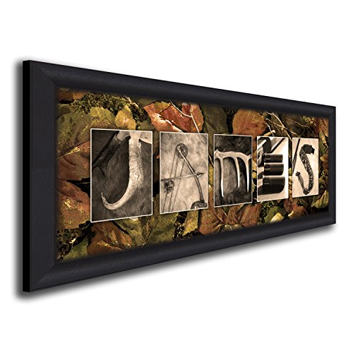 Personalized Hunting Name Art - Lodge, hunter, cabin, man cave, decor. (Framed Canvas - 13.5x32.5) by Personal Prints