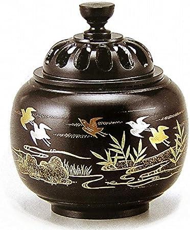『玉胴型香炉・波千鳥蒔絵』銅製