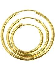 9ct Carat Yellow Gold Ladies Hoop Earrings - 12, 16, 20, 25, 30, 37, 57, 67, 82mm WJS3858