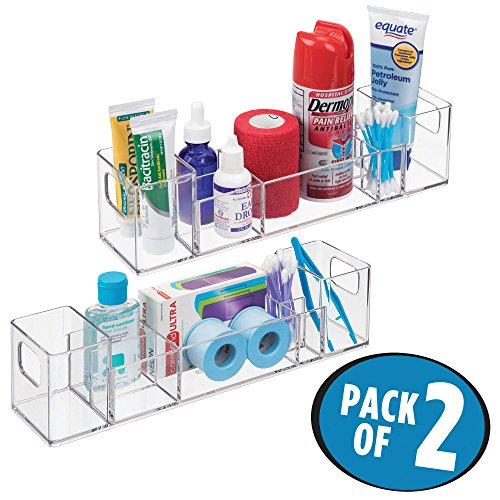 Multi Level Cabinet - mDesign Bathroom Vanity Countertop Multi-Level Organizer for Cosmetics, Makeup, First-Aid, Medicine - Pack of 2, Clear