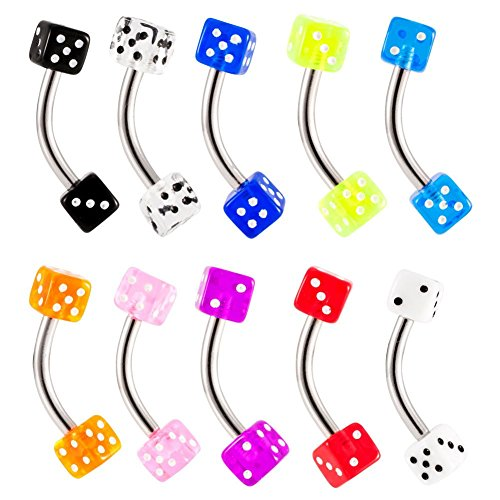 UV Acrylic Dice Curved Barbell Belly Button Navel Ring Acrylic Dice Barbells
